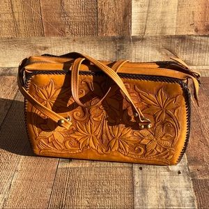 Tooled Leather Double Strap Handbag
